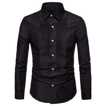 good quality vertical striped shirts for men 2019 new brand men shirts long sleeve man silk shirt men vertical striped flower embroidered frill shirt