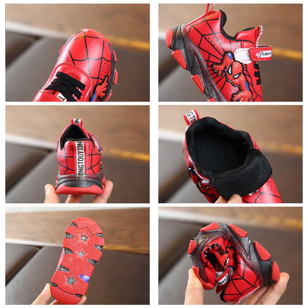 Scarpe da ginnastica per il Ragazzo con Led Incandescente Sneakers Spiderman Scarpe Per Bambini per I Ragazzi Scarpe Da Ginnastica di Sport Della Ragazza del Ragazzo Ha Condotto La Luce Luminosa Scarpe