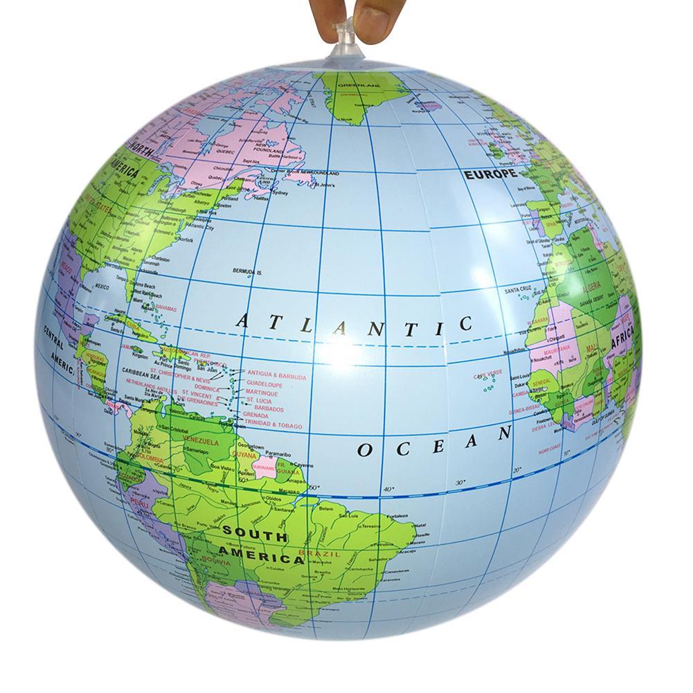 40 см надувной глобус World Earth карта океана мяч учебные принадлежности география обучающая игра, пляж с изящными бубонами для География