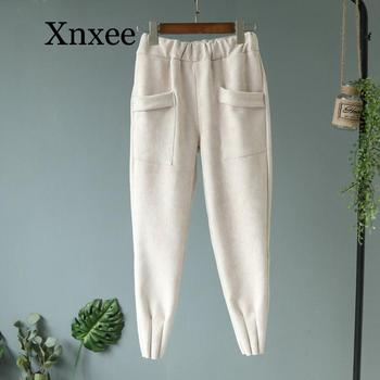 Loose Womens Suede Pants Autumn Winter Elastic beige  Pockets Harem Trousers Casual Plus Size Cashmere Women Carrot