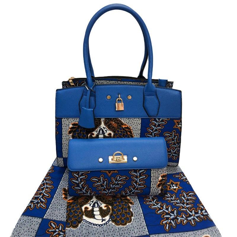 African New Design Wax Handmade Bag And Fabric Set For Wedding 2020 Summer Elegant Ladise Bag And Prints Wax Fabric