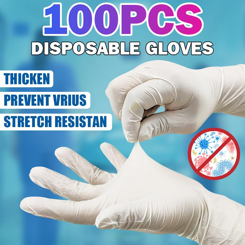 100pcs White Disposable Latex Gloves Non-Slip Acid And Alkali Laboratory Rubber Latex Gloves Garden Household Cleaning Products