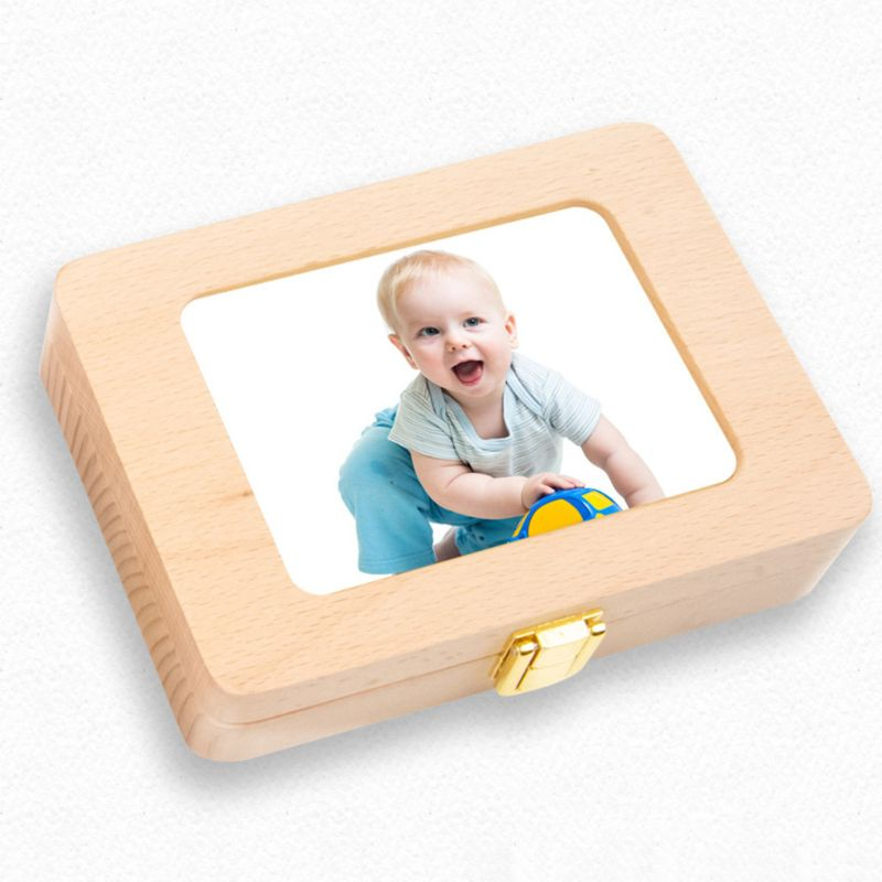 Wooden Photo Frame Fetal Hair Deciduous Tooth Box Newborn Baby Souvenirs Gift