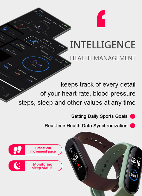M5 Smart Band Men Women Watch Heart Rate Blood Pressure Sleep Monitor Pedometer Bluetooth-compatible Connection for IOS Android 5