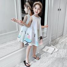 Новинка 2021, летнее платье для девочек 12, детская одежда 9, принцесса 10, жилет без рукавов, модные красные платья с мультяшным рисунком для дет...