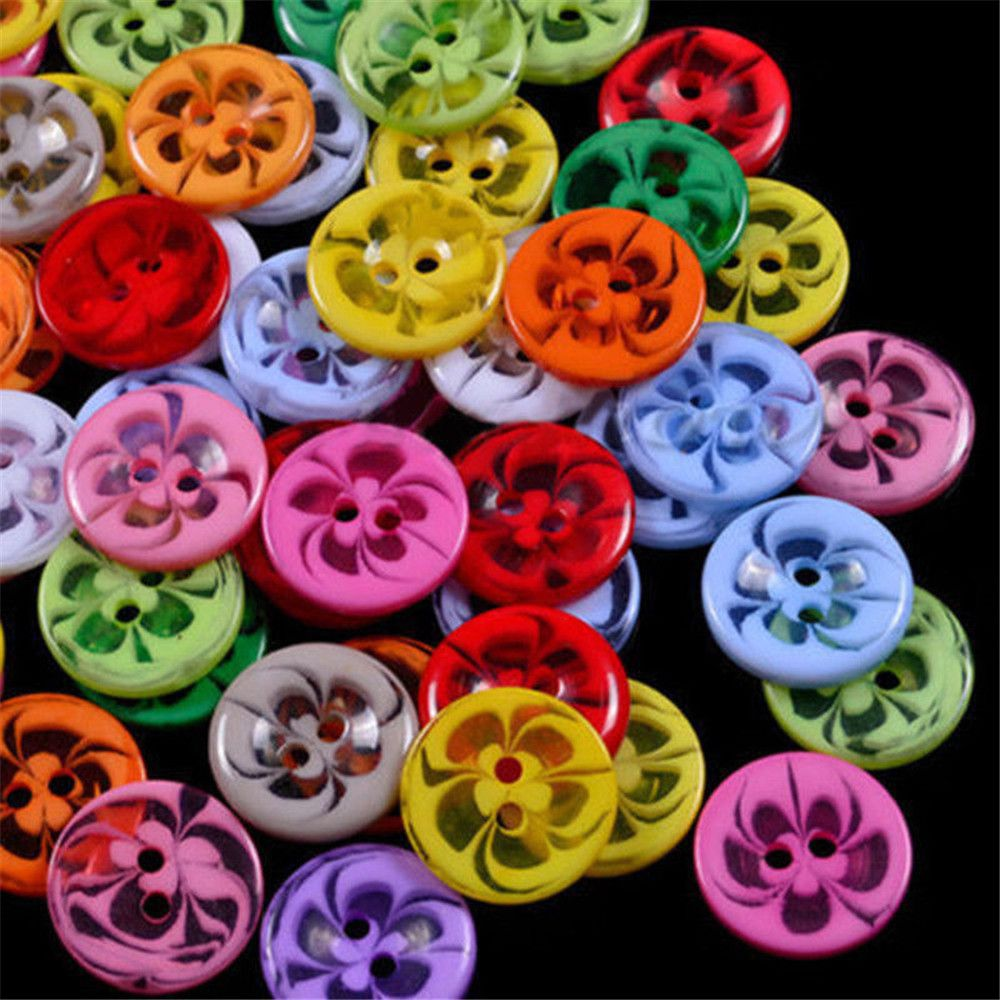 Expressive 100pcs/lot 2 Holes Beautiful Transparent Flower Mixed Color Resin Round Buttons Clothing Accessories Sewing Scrapbooking Craft To Win A High Admiration And Is Widely Trusted At Home And Abroad.