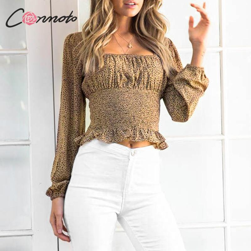 Conmoto Square Collar Vintage Ruched Women Blouse Shirts Autumn Winter 2019 Ladies Leopard Sexy Blouses Club Casual Blusas