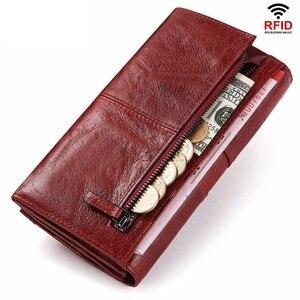 Image 2 - Rfid Long Wallet  Women Genuine Leather Female Designer Purse Luxury ID Credit Card Holder Cell Phone Coin Pocket Money Bag