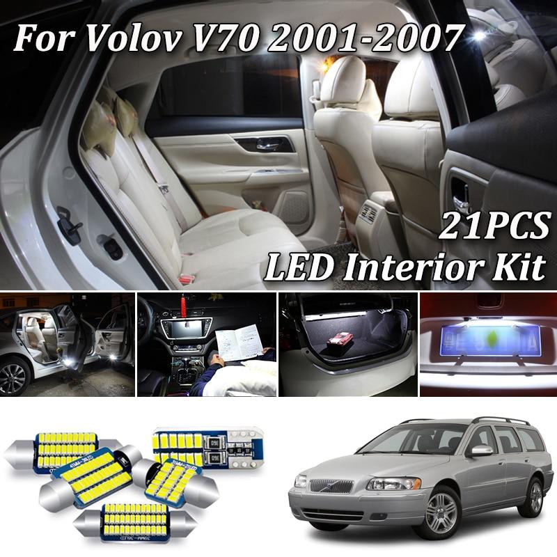 Комплект светодиодного светильник для салона Volvo V70 и лампы номерного знака (2001-2007), 21 шт.