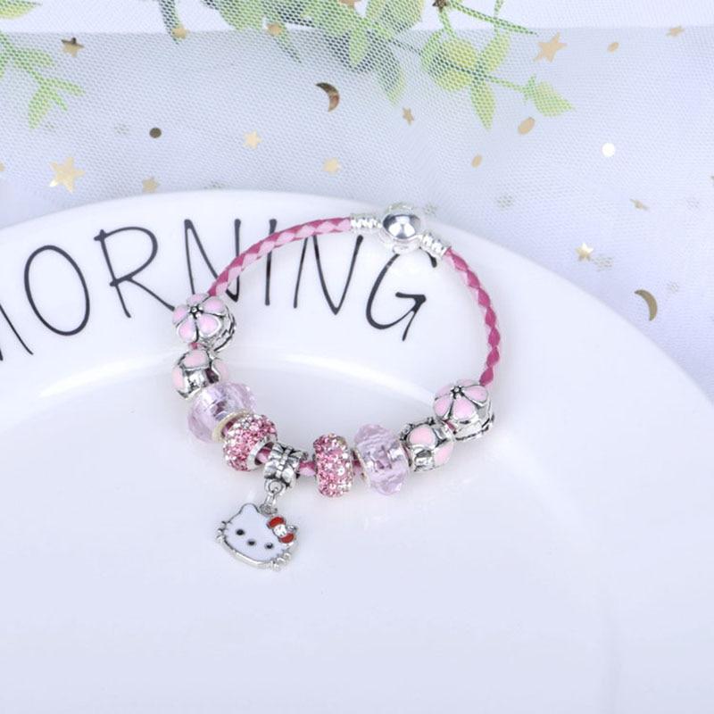 Pan Jia charm KT Cute Cat Leather Rope Bracelet Female Pink Crystal DIY Alloy Large Hole Beaded Bracelet February 14 gift