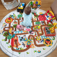 Animal Print Round Kids Rug Toys Infant Carpet Baby Play Mat Cotton Developing Puzzle Childrens Storage