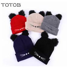 цена на Autumn and winter new hat men and women kitten ears embroidery pattern knit hat outdoor leisure warm wool hat tide