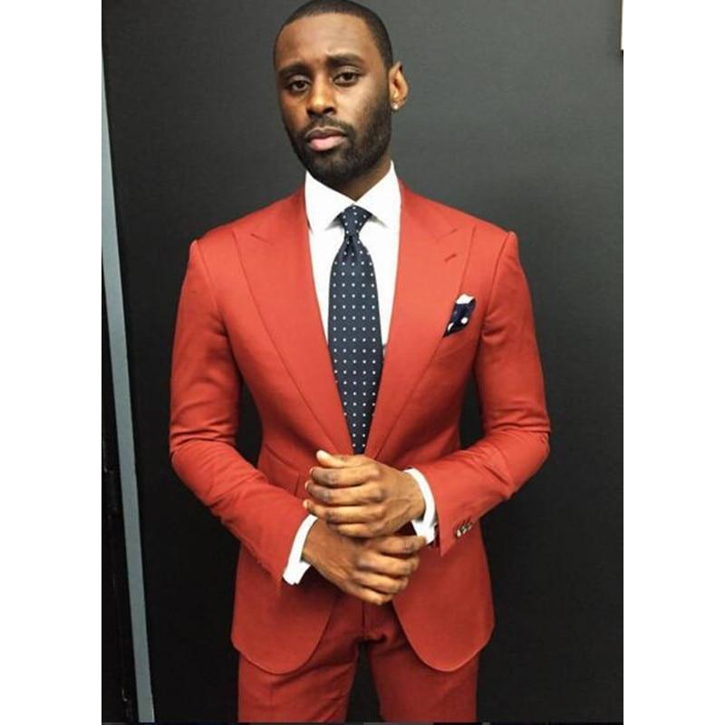 Custom Made Orange Slim Fit Mens Suit Designs Mens Blazer Slim Fit Suit Men Wedding Tuxedos Fashion Male Suits (Jacket+Pants)