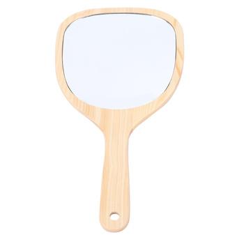 Kobiety drewniane ręczne lustro z uchwytem lustro łazienkowe naścienne z otworem na haczyk do makijażu Home Salon Travel Use (sektor Va tanie i dobre opinie Wyposażone CN (pochodzenie)