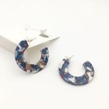 CC Acrylic Earrings  blue Round Hoop Earrings Geometric Dangle Drop acetate earring Big Hook Acrylic Earrings недорого