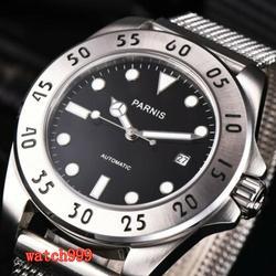 Parnis 42mm czarna tarcza szafirowe szkło Miyota automatyczny sportowy męski zegarek na co dzień ze stali nierdzewnej wodoodporny zegarek mechaniczny w Zegarki mechaniczne od Zegarki na