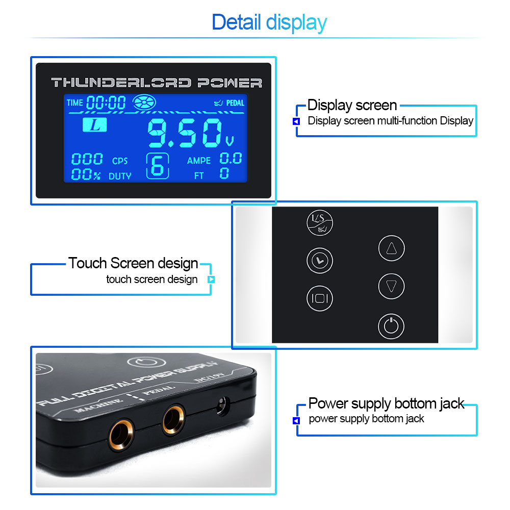 Image 2 - Tattoo Power Supply HP 2 UPGRADE Touch Screen TP 5 Intelligent Digital LCD Makeup Tattoo Machine Supplies set-in Tattoo Power Supply from Beauty & Health