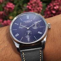 Parnis Mens Automatic Watch Mechanical Power Reserve Self Winding Men Watches Blue Dial Calendar Man Clock 2019 Top Luxury Brand