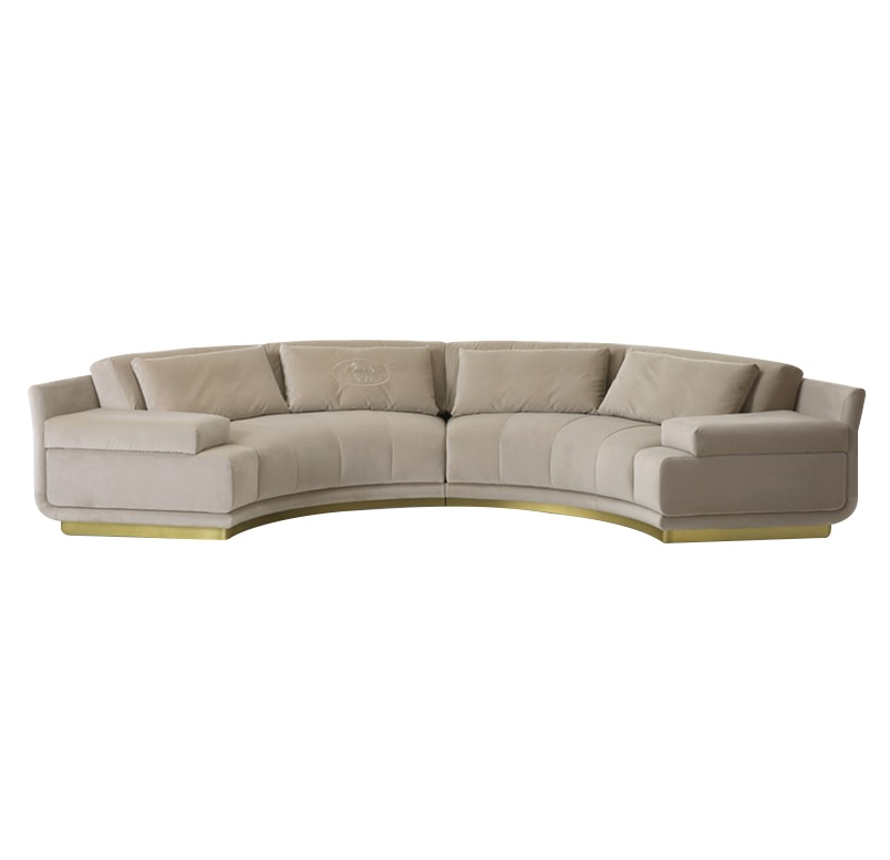 10x pack 385cm long semi circle sectional sofa with fabric upholstery matchable 2xsingle sofa and coffee table included