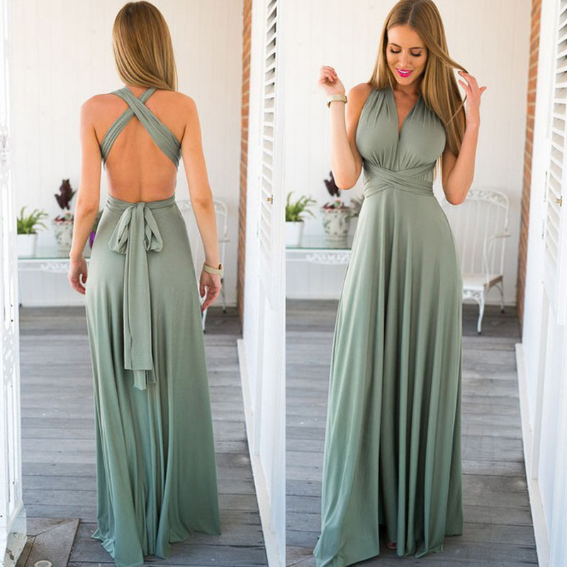 Sexy Convertible Neckline Boho Bridesmaid Dresses Multiway Wrap Pleated Elastic Waist Long Dress For Wedding Party For Woman