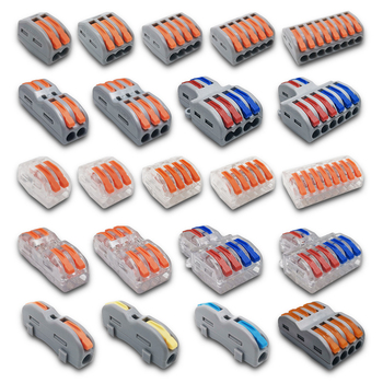 Mini Fast Wire Cable Connectors Universal Compact Conductor Spring Splicing Wiring Connector Push-in Terminal Block SPL-2/3 212 wire connectors 222 412 413 415 mini fast wire cable conectors universal compact wiring conductor push in terminal block china