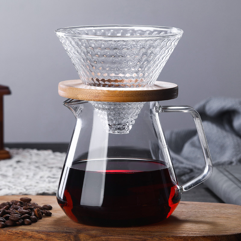 Strawberry Hario Style V60 Glass Wooden 700ML/500ML Coffee Dripper And Pot Set For  Coffee Filter Reusable Coffee Filters