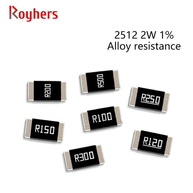 50Pcs 2512 2W SMD Legierung Widerstände Kit 1% Toleranz 0,006 R 0,03 R 0,033 R 0,04 R 0,07 R 0,3 R 0,4 Ohm Niedrigen Niederohm Chip Widerstand Sets