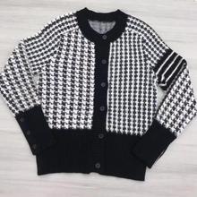 Осенне-зимний школьный свитер с круглым вырезом, черно-белый клетчатый пуловер с узором «гусиная лапка», женский джемпер, Топ
