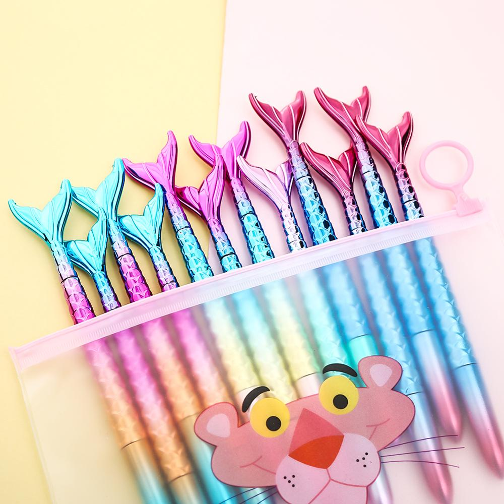 5Pcs Cute Creative Color Gel Pens with Fluffy Ball Stationery School Supplies
