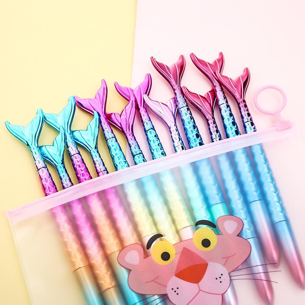 12pcs Cool Mermaid Pen Cute Cartoon Creative Signature Ink Gel Pens For School Supplies Gifts Kawaii Funny Office Stationary