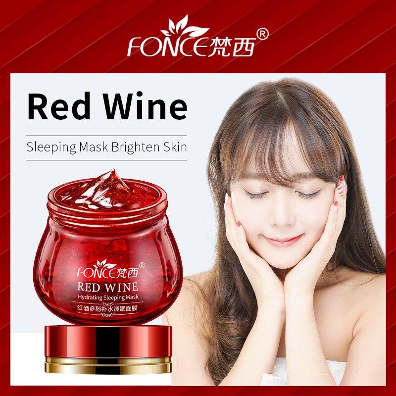 Korean Skin Care Red Wine Sleeping Mask Cream Moisturizing Gel Night Cream Anti Wrinkle Aging Nutrition Brighten Face Cream 100g