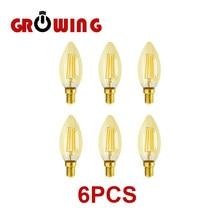 6pcs/Lot Filament Bulb C35 4W Retro Edison Bulb E14 Bombillas 220V-240V Vintage Lamp 2700K Home Decoration