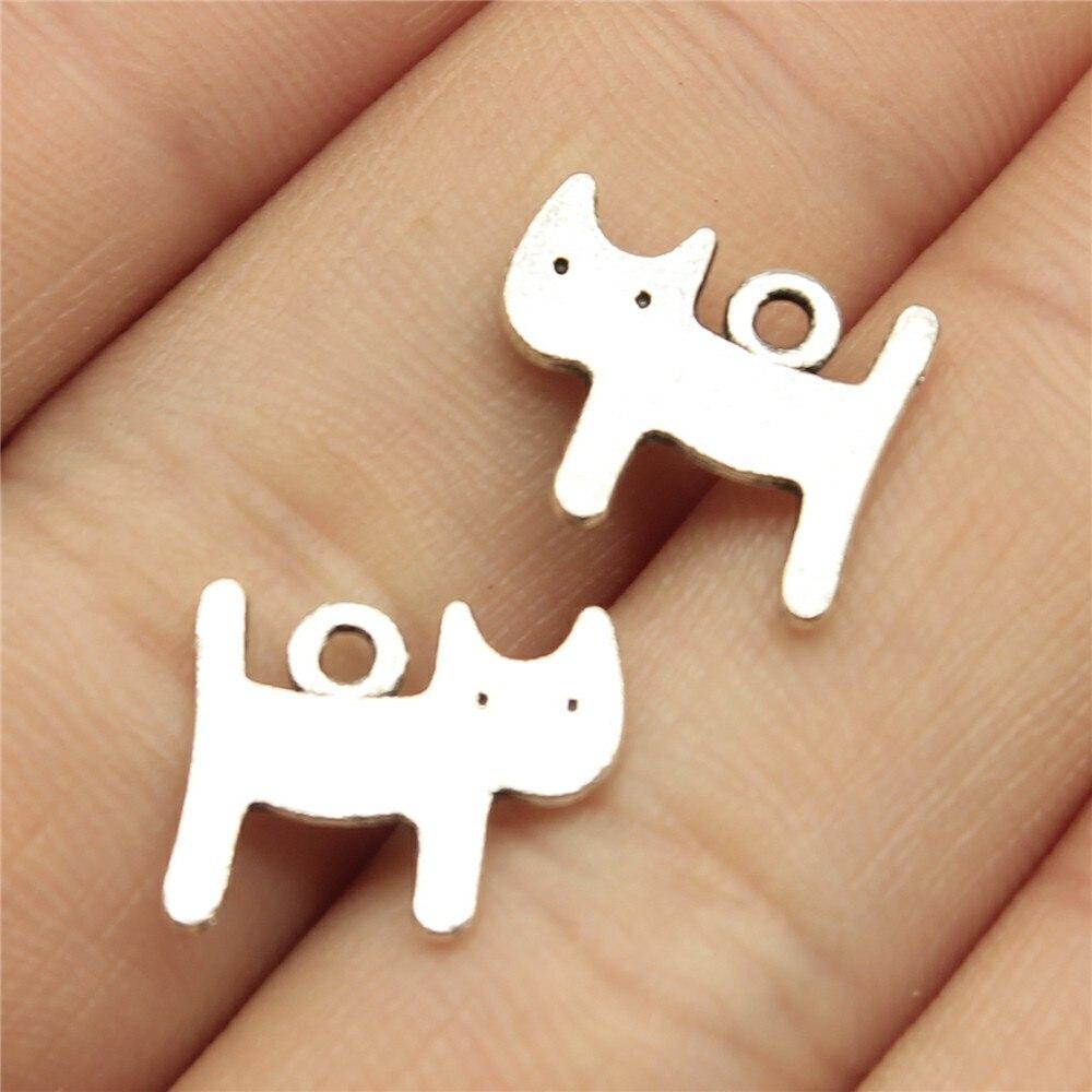 40 шт 14x12 мм подвеска маленькая кошка Каваи кошка Шарм Подвески для изготовления ювелирных изделий античные серебряные цвета милые кошки под...