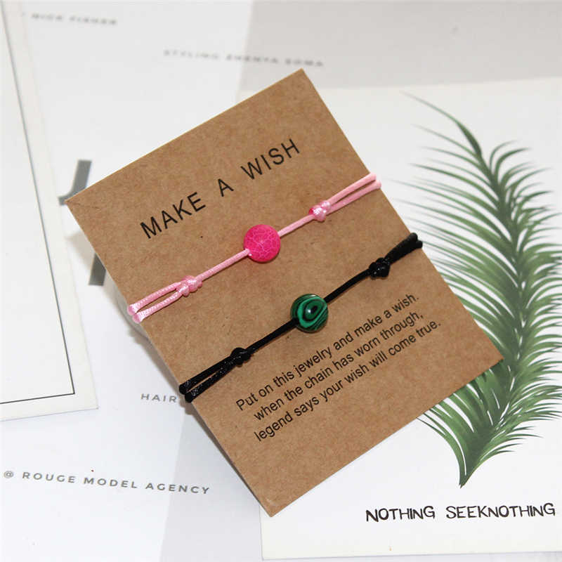 2 stk/set Natuursteen Kraal Armband Mannen Vrouwen Wish Sieraden Multi Color String Vlechten Paar Armbanden voor Party/Verjaardag geschenken