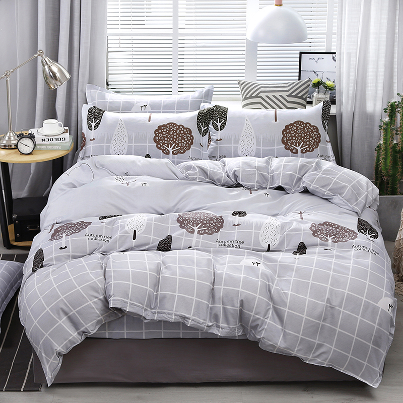 Light Grey Plaid Bedding Sets Flat Sheets