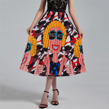 Bohemian Print Peacock Pleated Skirt for Women Vintage High Waist A Line Elastic Beach Skirts Women Clothes Hot Sale 2020