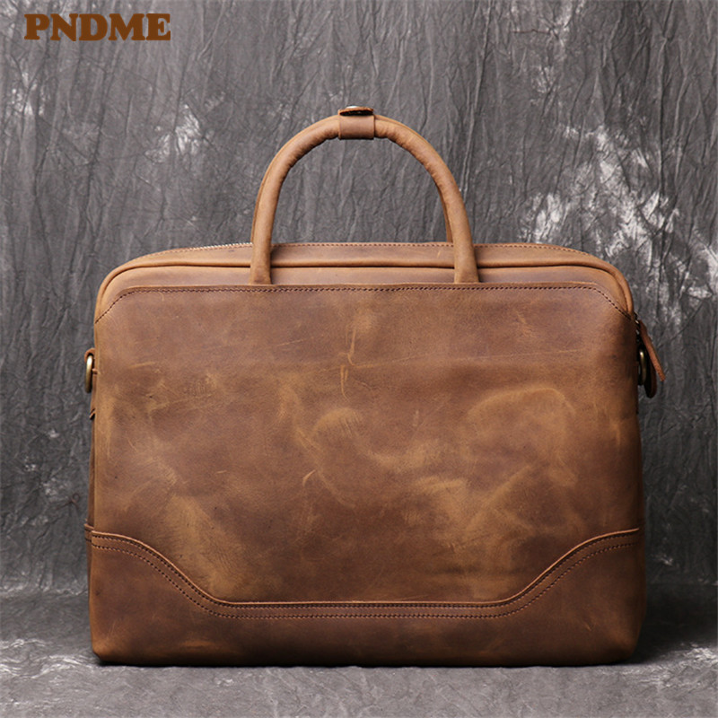 PNDME Men's Genuine Leather Briefcase Retro Simple Office Laptop Bag High Quality Luxury Lawyer Bag Cowhide Brown Messenger Bags