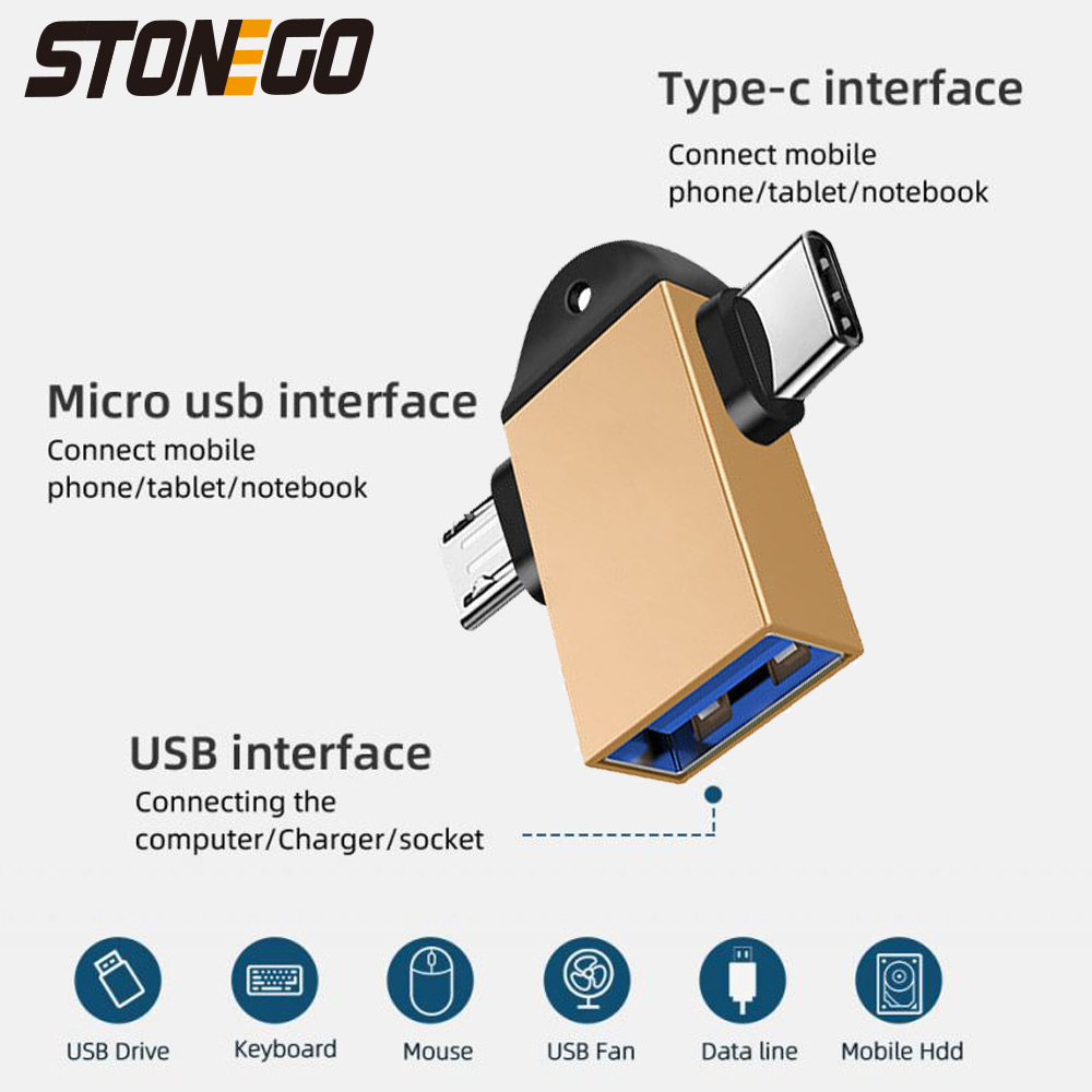 STONEGO 2 in 1 OTG Adapter, USB 3.0 Female To Micro USB Male and USB C Male Connector Aluminum Alloy on The Go Converter