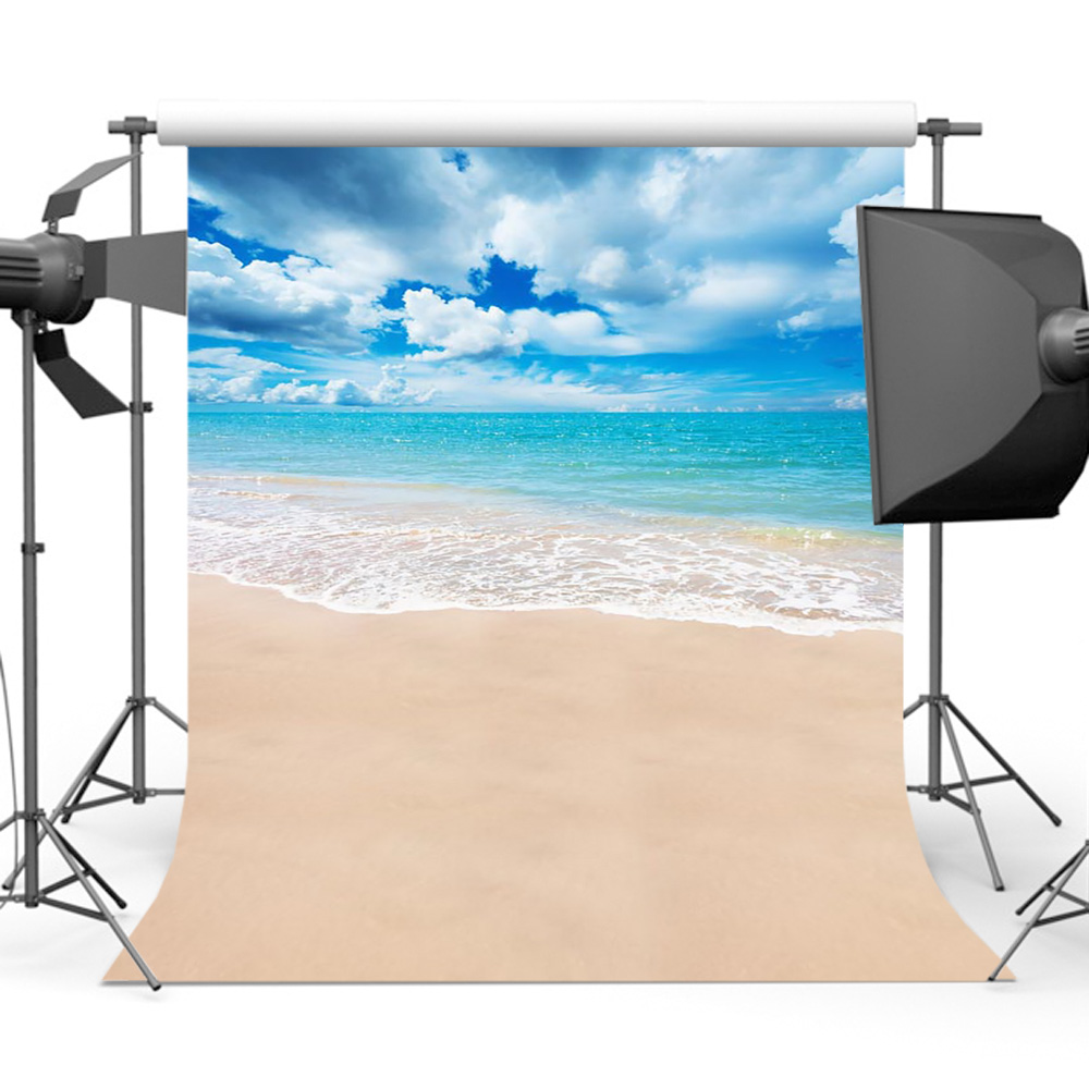 Mehofoto Summer Blue Sky Sea Wave Backdrops Phtoography Sandy Beach Background Photo S-570 image