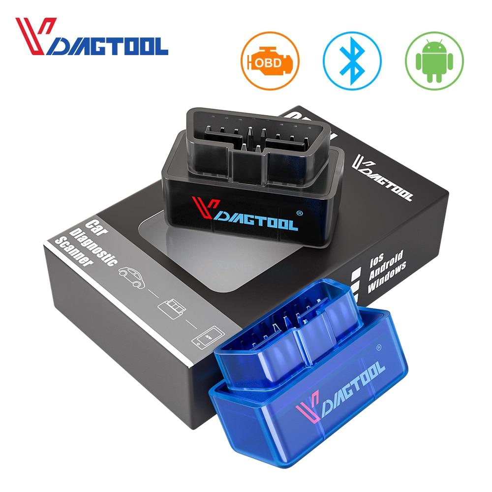 VDIAGTOOL ELM 327 OBD2 Car Diagnostic Scanner Tool ELM327 V1.5 Bluetooth Wifi Interface OBDII For Android IOS Code Reader