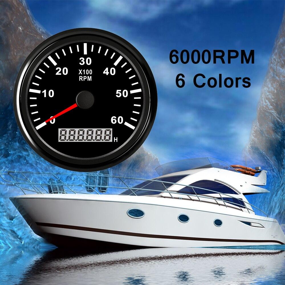 Tachymètre de bateau de 85mm 0 ~ 6000 t/mn jauge de Tacho jauge de mètre compteur numérique moteur Diesel hors-bord marin générateur 9-32V