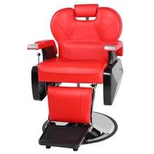 Beauty Salon Chair Salon Chair Barber Professional Salon Barber Chair 8702A Red  Barber Chair Styling Salon Beauty Equipment