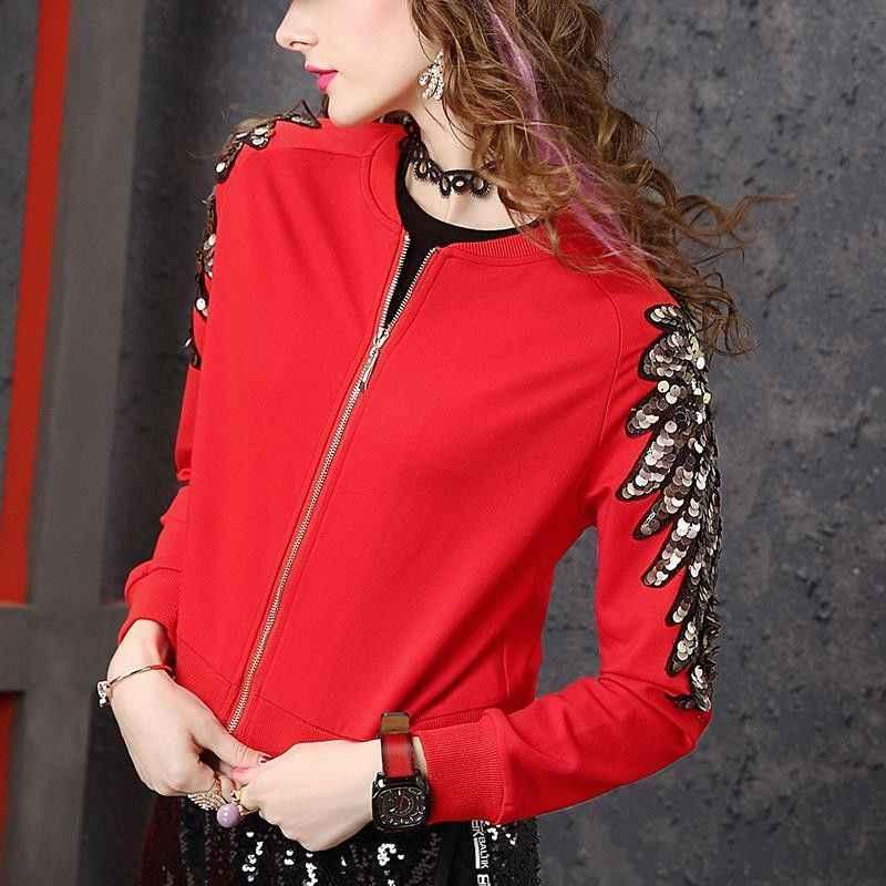 Áo Khoác Đỏ Nữ Châu Âu Chân Mới Thời Trang Co Giãn Mỏng ĐÍNH HẠT ĐÍNH HẠT CƯỜM Áo Khoác Nữ UT193