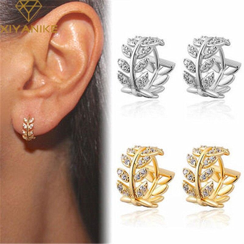 XIYANIKE 925 Sterling Silber Heißer Verkauf Blätter Voll Zirkon Hoop Ohrringe Weibliche Mode Einfache Wunderschöne Schmuck Valentinstag Geschenk