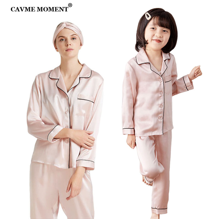 CAVME 100% Silk Pajama Sets for Mother Father Kids Boy Girl Real Silk Sleepwear Homeclothes 2 Piecs Sets PLUS SIZE
