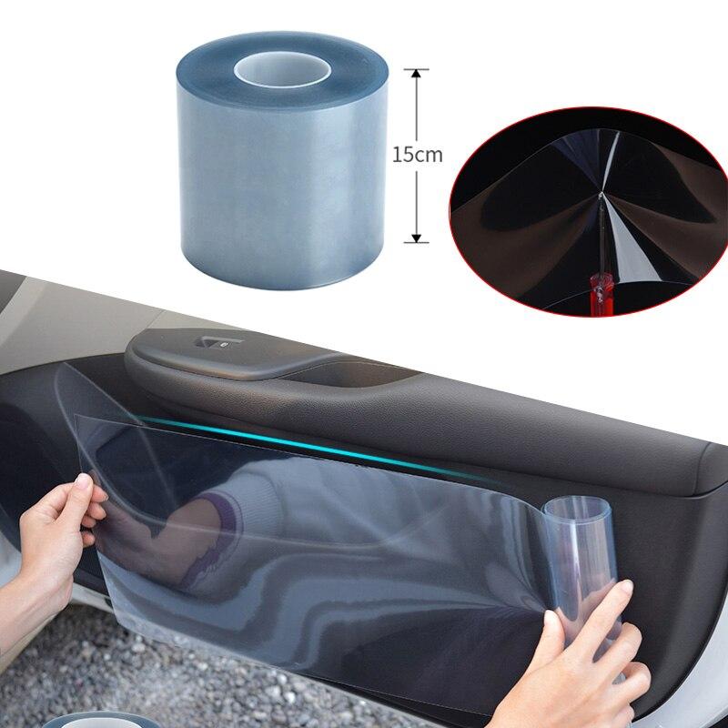 Película protectora de piel de rinoceronte para coche, capó y parachoques de coche de 15cm x 100cm, pegatina de protección de pintura, pegatinas de película de transparencia transparente antiarañazos