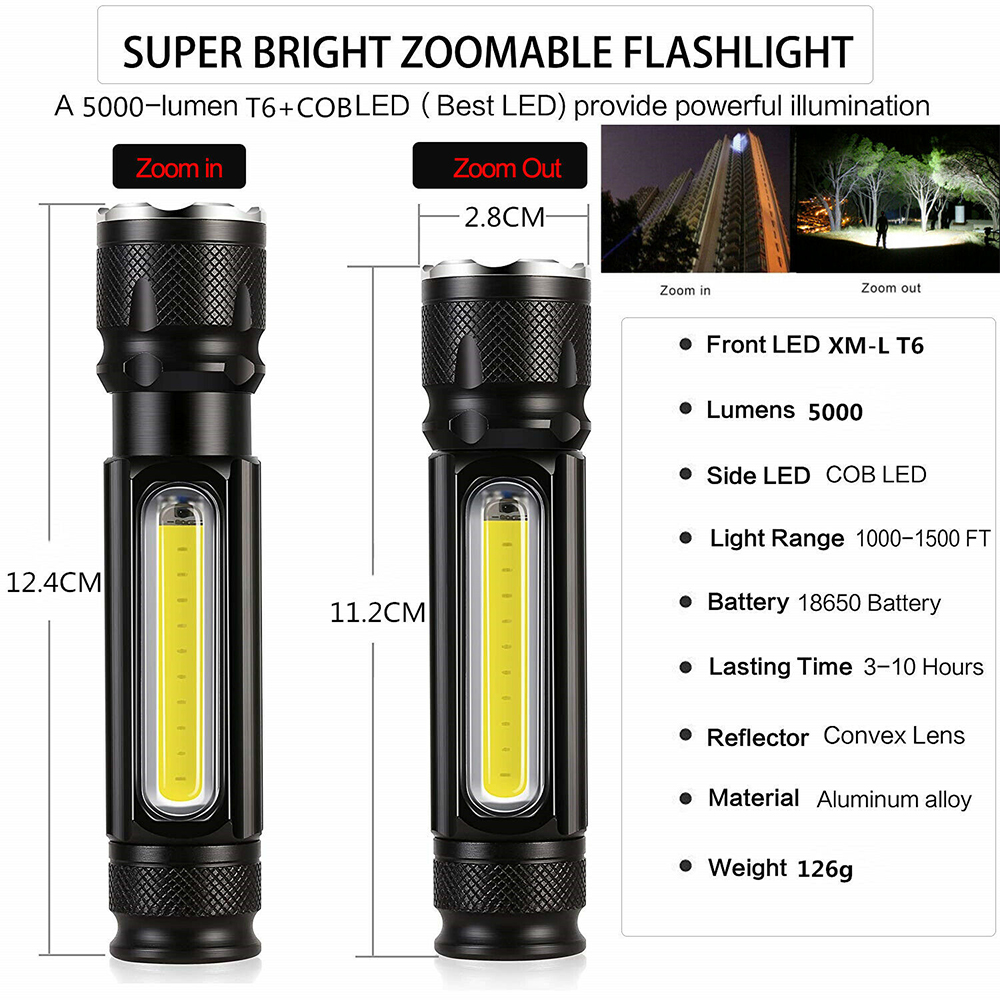 COB LED Flashlight Rechargeable Zoomable T6 torch Side Work Light M1Z0