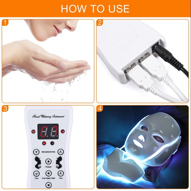 7 Colors LED Facial Mask Beauty Skin Rejuvenation Photon Therapy Acne Mask Neck Face Skin Tighten Wrinkle Removal Whitening 5