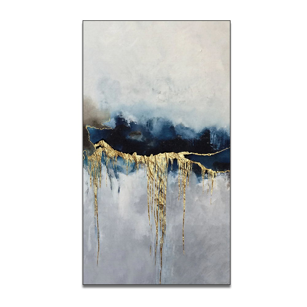 Modern Family Golden Wall Art Picture Abstract Gold Foil Painting Handwork Blue Living Room Decor Big Size Canvas Painting
