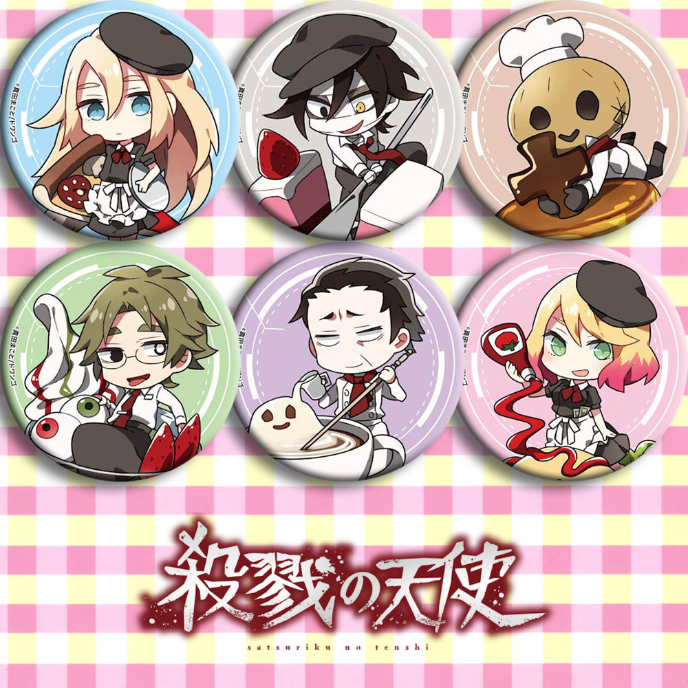 Japan Anime Angels of <font><b>Death</b></font> Cosplay Badge Cartoon Brooch Pins Collection Bags Badges For Backpacks Button gifts image